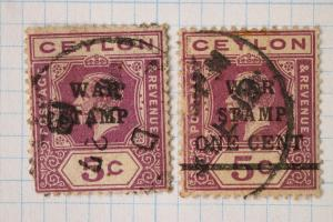 Ceylon sc#MR3 MR4 war tax stamp used