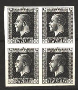 NEW ZEALAND GV surface printed ½d plate proof in black imperf block........81176