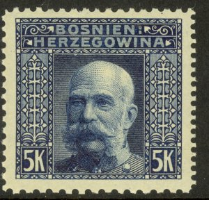 BOSNIA AND HERZEGOVINA 1906 5K FRANZ JOSEPH P.10.5x12.5x9.25x10.5  Sc 45l MH