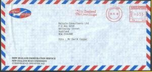 SINGAPORE 1993 airmail cover NEW ZEALAND High commission meter.............13120