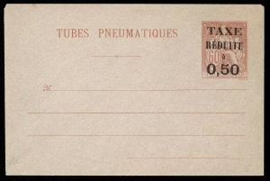 fr031 France Tubes Pneumatiques envelope 60c red unused, 50c Taxe Reduit overprt