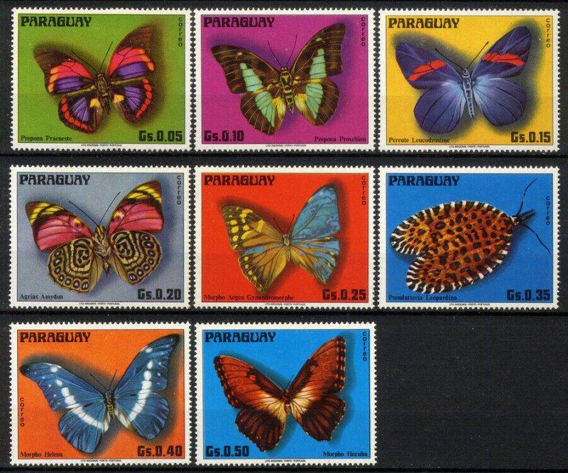Paraguay MNH Set Of 8 Butterflies 1976