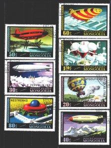 Mongolia. 1977. 1118-24. Airships. USED.