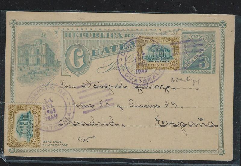 GUATEMALA (P2309B) 1909C 3C PSC UPRATED 6C X2 TO MADRID SPAIN