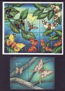 Palau-Scott#621-22-two Unused NH sheets-Insects-Moths of the World-2001-
