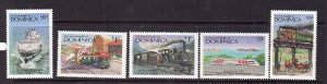 Dominica-Sc#1040//1048-unused NH 1/2 set-Transportation-Ships-Trains-1987-