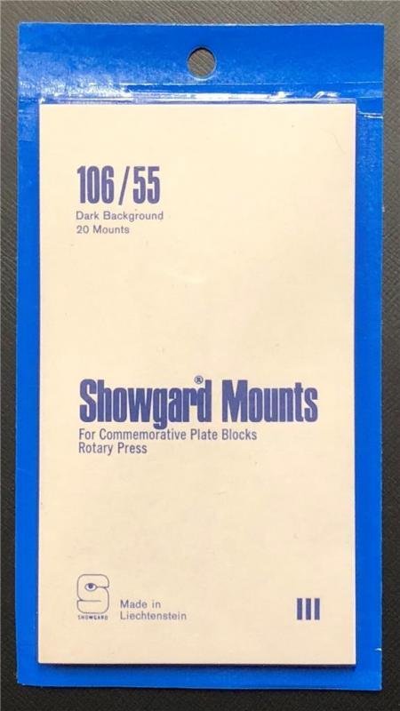 Stamp Mounts Supplies Showgard New 20 strips 106mm by 55mm Black back Precut