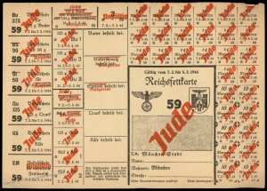 3rd Reich Germany 1944 Munich Butter and Lard Ration Card for Jewish Perso 96258