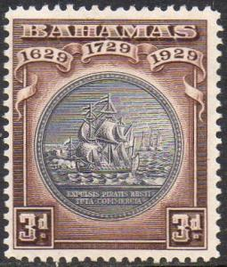 BAHAMAS 1930 3d black and deep brown MH