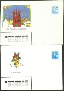 LITHUANIA Like Sc#381 Two Pieces of 1990 Christmas Stationery Unused