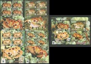 AB1061 2014 AITUTAKI WWF FAUNA FISH & MARINE LIFE SPOTTED REEF CRABS !!! 5KB FIX