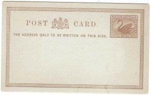 WESTERN AUSTRALIA C 1890S SWAN 1/2D POSTCARD