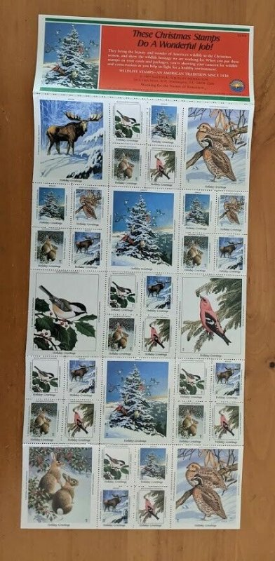 1987 National Wildlife Federation-Conservation Christmas Stamps Full Sheet of 36
