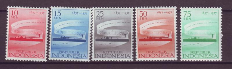 J21030 Jlstamps 1957 indonesia set mh #436-40 telegraph