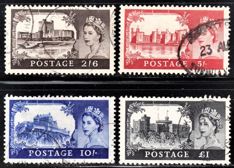 Great Britain Scott 371-74  complete set  F to VF used.