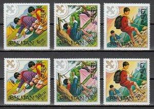 Bhutan, Scott cat. 134-139. 60th Anniversary of Boy Scouts. LH. *