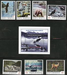 ROMANIA Scott 3787-9 MNH** 1992 Wild Animal Nature set