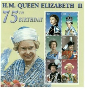 Maldives MNH S/S Queen Elizabeth II 75th Birthday
