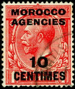 MOROCCO AGENCIES SG193, 10c on 1d scarlet, FINE USED.