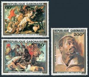 Gabon C199-C201,MNH.Michel 643-645. Peter Paul Rubens,1977.Hippo,Crocodile,Dogs,