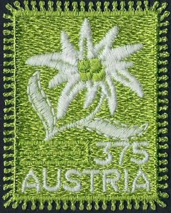 2005 Austria Edelweiss embroidered stamp, flowers VF/MNH, LOOK!