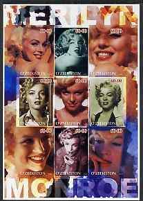 Uzbekistan 2002 Marilyn Monroe #3 imperf sheetlet contain...