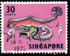 Singapore #92 Dragon Dance, 1968. Used, Repaired