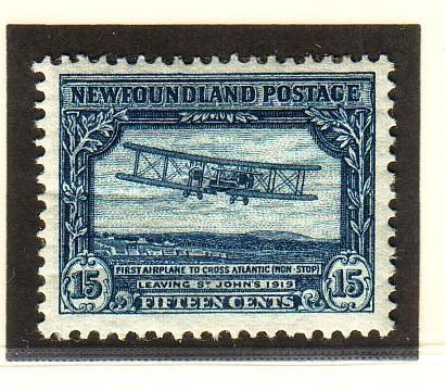 Newfoundland Sc 179 1931 15c Trans Atlantic Flight stamp watermarked mint