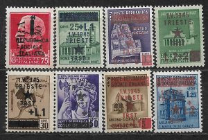 COLLECTION LOT OF 8 ITALY OVERPRINTED FOR USED IN ISTRA & TRIESTE MNH 2 SCAN