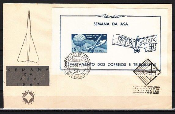 Brazil, Scott cat. 1062a. Week of the Wing s/sheet on a First day cover