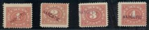 US #RJA9-12 1¢ - 4¢  Narcotic Tax Stamps, og, NH, Scott for hinged $57.00
