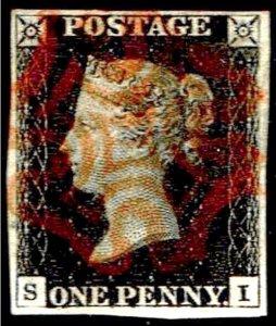 Great Britain Penny Black CC Four Margins