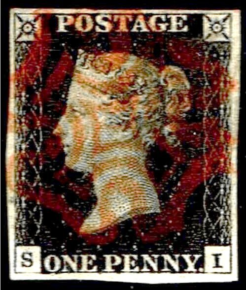 Great Britain Penny Black CC Four Margins