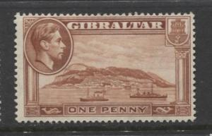 Gibraltar - Scott 108a - KGVI Pictorials -1938- MH - Perf 14 - Single 1d Stamp