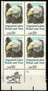 PCBstamps  US #1831 Zip Block  60c(4x15c)Organized Labor, 1980, MNH