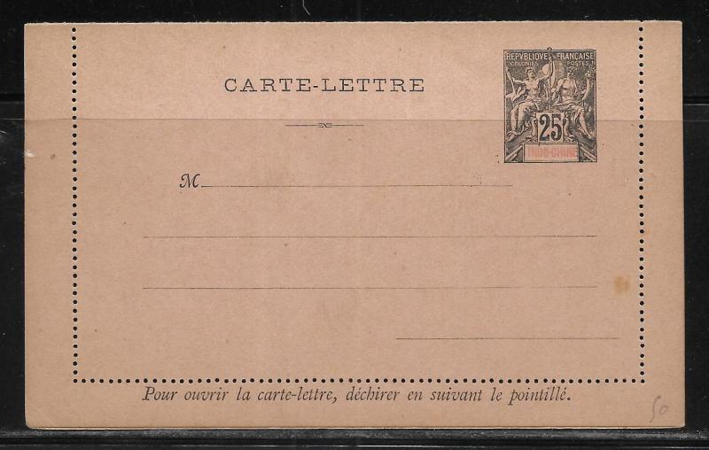 Indo-China Postal Stationery Lettercard H&G 2 Unused