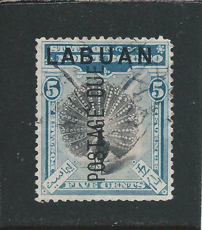 LABUAN POSTAGE DUE 1901 5c BLACK & PALE BLUE FU SG D4 CAT £170