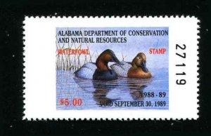 Alabama Waterfowl Duck Stamp 10  1988 Canvasbacks