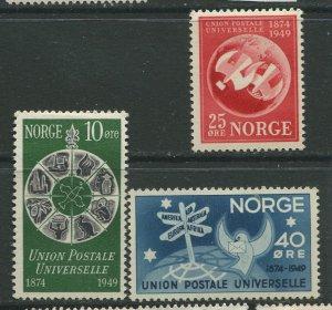STAMP STATION PERTH Norway #299-301 General UPU Issue 1949 MVLH