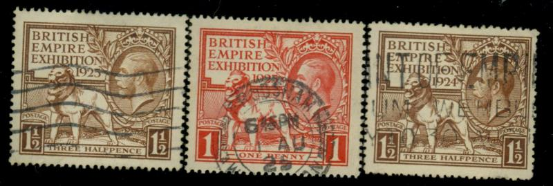 Great Britain #186 203 204 Used VF Cat$94