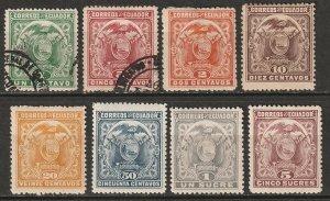 Ecuador 1897 Sc 127-34 set MH*/used some disturbed gum