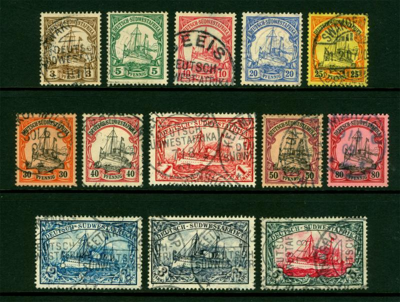 German Colonies - SOUTH WEST AFRICA 1900 Kaiser's YACHT set Sc# 13-25 used (refB