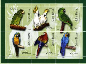 Guinea Bissau 2001 PARROTS Sheet Perforated Mint (NH)