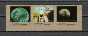 Manama, Unlisted issue. Space strip of 3, IMPERF.