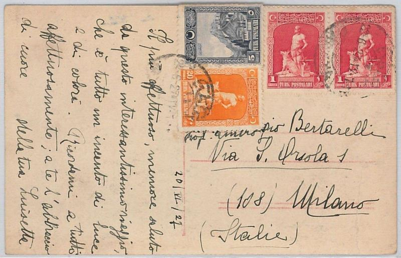 TURKEY -  POSTAL HISTORY - POSTCARD to ITALY  -  DOGS  1927