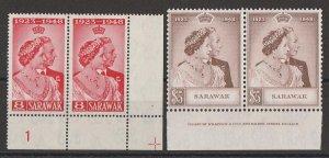 SARAWAK 1948 KGVI Silver Wedding set plate & imprint pairs. MNH **.