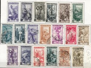 Italy Scott 549-567 used 1950 stamp set of (19)
