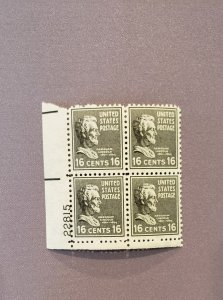 821, Lincoln, Plate Block LL, Mint OGNH, CV $13.00