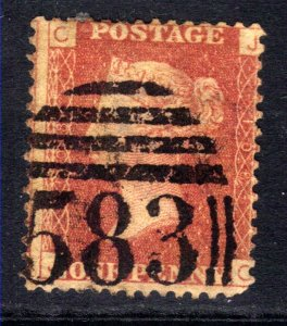 GB 1864 – 79 QV 1d Red used Plate 108 used ( J & C ) ( H1220 )
