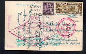 1930 USA Graf Zeppelin Postcard Cover Around the World to Germany # C14